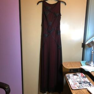 vintage black and red mesh evening gown prom dress